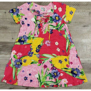 Jams World Floral Lace Up Pockets Dress Size Small